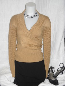 brown sweater and skirt
